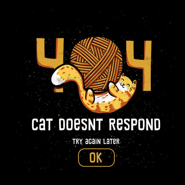 Cute t-shirt with the title '404 Cat Doesn't Respond'