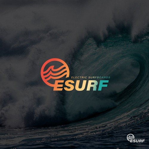 Surfing logo with the title 'Electric Surfboard logo'
