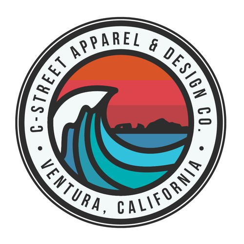 Surfboard logo with the title 'C-Street Apparel & Design Co.'