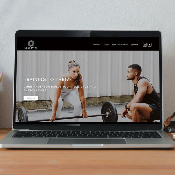 Personal trainer design with the title 'Longevity with Chris'