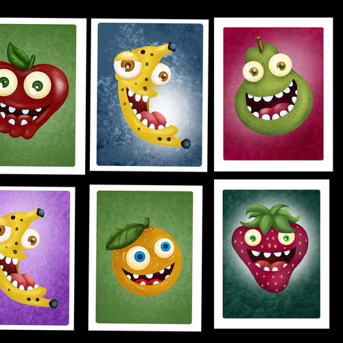 Card artwork with the title 'fruit cards'