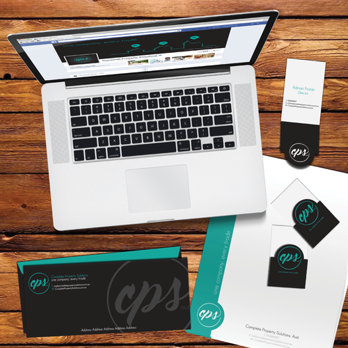 Aqua brand with the title 'Logo and Brand Identity pack for Complete Property Solutions (Aust.)'