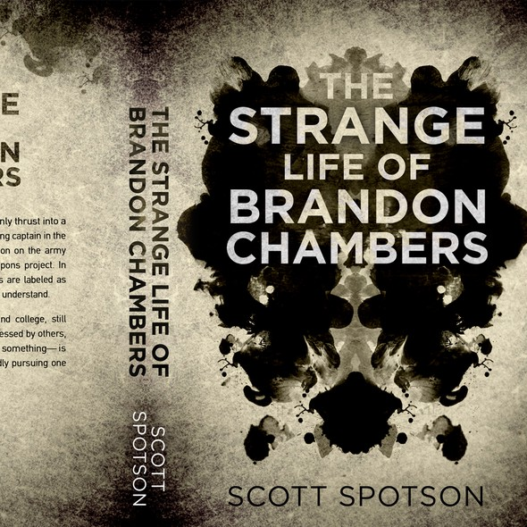 Psychology design with the title 'The strange life of Brandon Chambers - Psychological thriller'