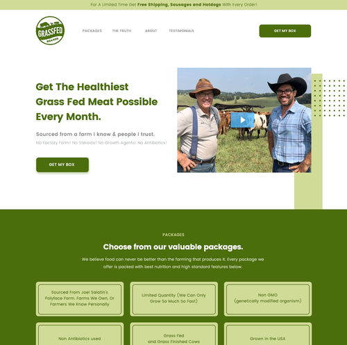Farm website with the title 'Web design for a dairy product'