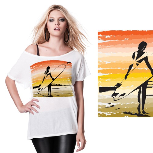 California t-shirt with the title 'Create trendy, beachy, chic WOMEN'S T-SHIRT Designs with the theme VINTAGE SO CAL'