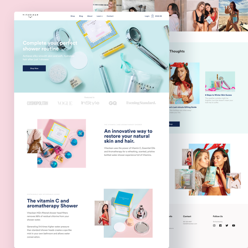 Shower design with the title 'Landing Page design for beauty and cosmetics brand'