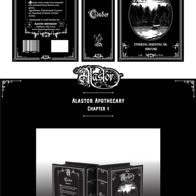 A book-box label for Alastor apothecary