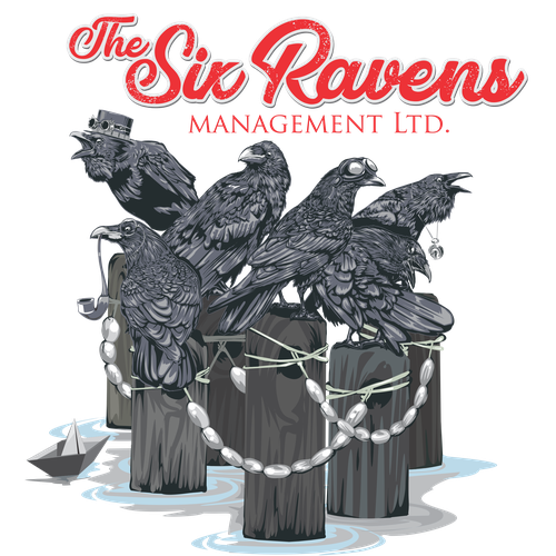 Coastal design with the title 'The Six Ravens'