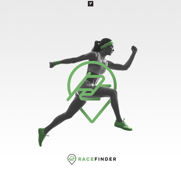 Track design with the title 'Modern logo for Race Finder app'