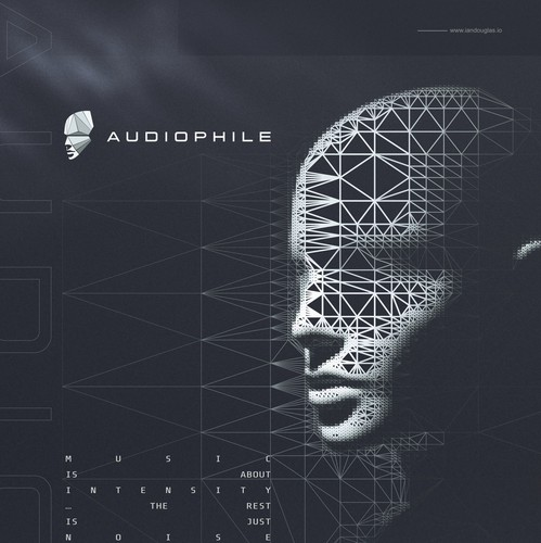 Electronic design with the title 'Futuristic mark for Audiophile Music Group'