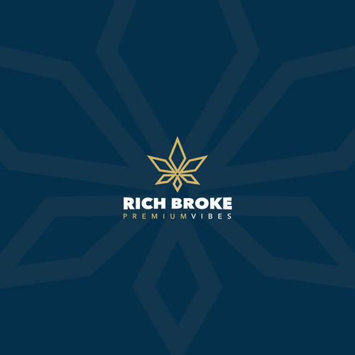 Millionaire logo with the title 'Rich Broke - High End and Luxurious Cannabis Brand.'