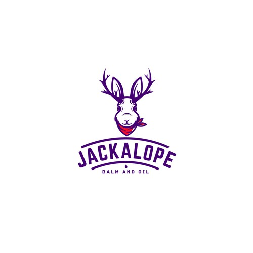 "Horn logo with the title 'Logo design for ""JACKALOPE"".'"