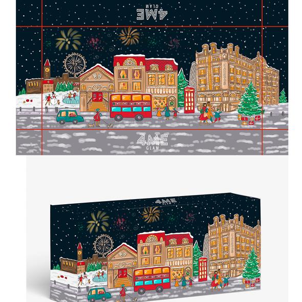 Artist illustration with the title 'London Christmas Illustration'