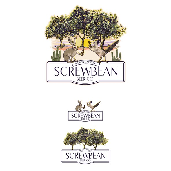 Roadrunner design with the title 'Screwbean Beer Co.'