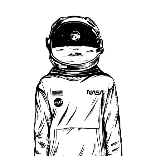 Astronaut artwork with the title 'Hand-drawn astronaut illustration'