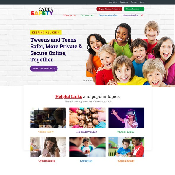 Kid website with the title 'Cybersafety.org'