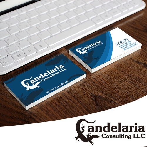 Lizard design with the title 'Logo concept for Candelaria Consulting LLC'