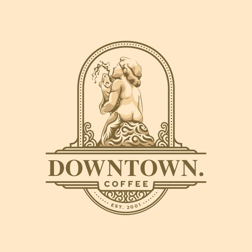Fountain logo with the title 'downtown.coffee'