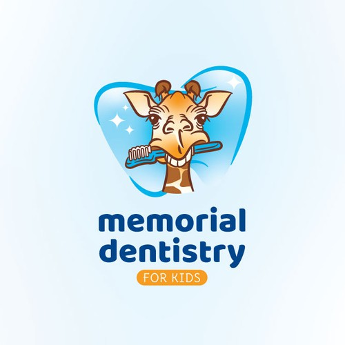 Toothbrush design with the title 'A giraffe for kid's dentistry logo'