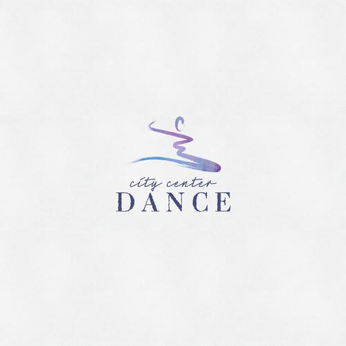 Brush pen design with the title 'City Center Dance Studio Logo'