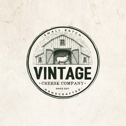 Handmade logo with the title 'Vintage Cheese company'