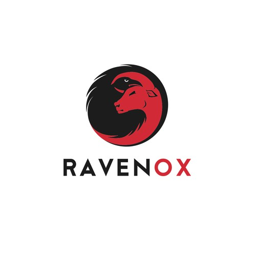 Raven design with the title 'Modern logo for company called Ravenox'