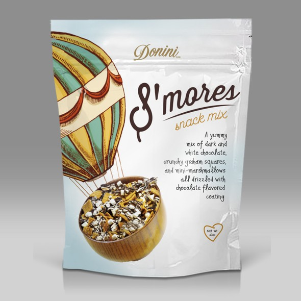 Marshmallow design with the title 'Package for S'mores Snack'