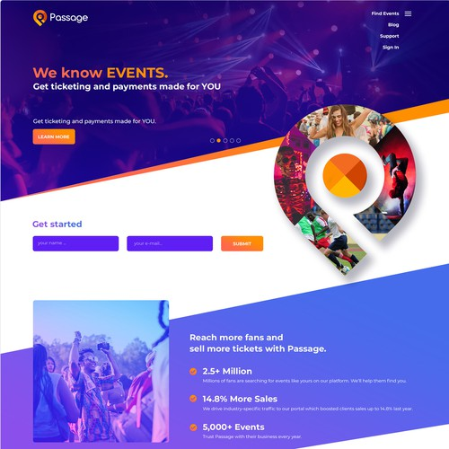 Purple and orange design with the title 'Ticketing, entertainment home page design. '