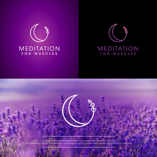 Lavender design with the title 'Meditation for muscles logo'