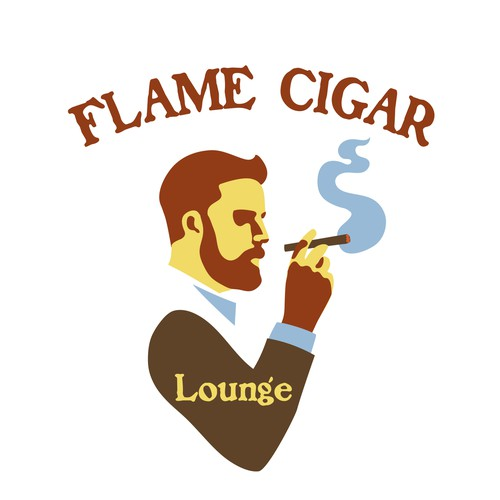 Mid-Century design with the title 'Logo Proposal for Flame Cigar Lounge'