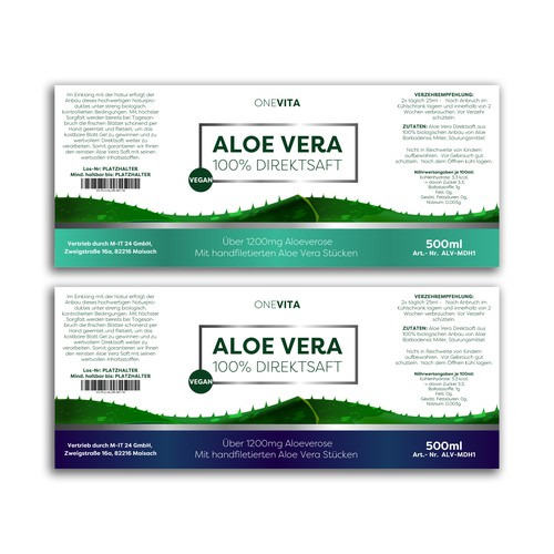 Plant label with the title 'Aloe Vera Label'