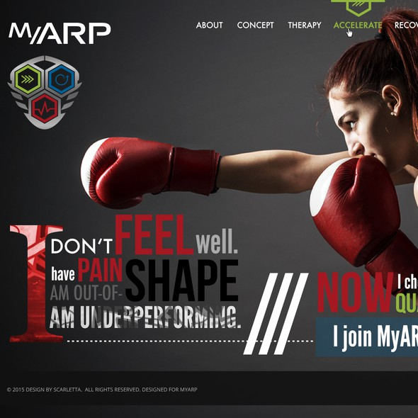 Sports website with the title 'MyARP - responsive design for web page'