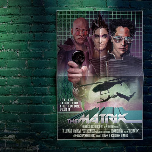 Composition design with the title 'Ultimate 80s Movie Poster Contest - THE MATRIX'