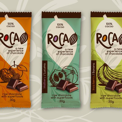 "Wrapper for ""A new experience of chocolate"" (innovative raw chocolate with superfoods)"