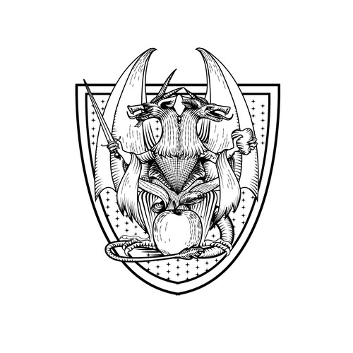 Black and white illustration with the title 'Heraldic crest'