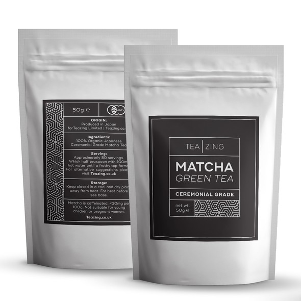 Green tea design with the title 'Logo and Matcha labels for TeaZing'