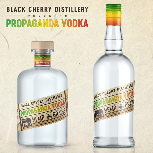 Marijuana label with the title 'Propaganda Vodka label design'