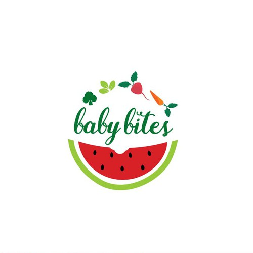 Red and green design with the title 'Vibrant Logo for Organic Baby Food'