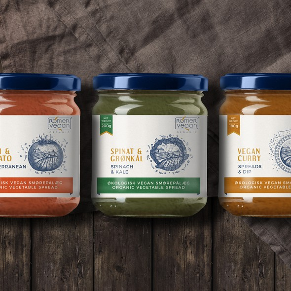 Spread design with the title 'Label design for Vegan Spreads'