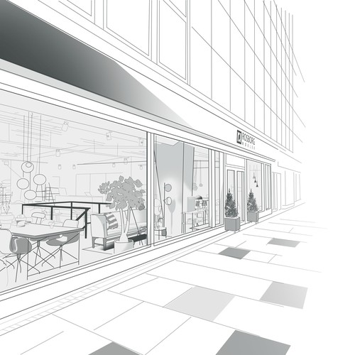 Monochrome artwork with the title 'Furniture Shop Illustration'