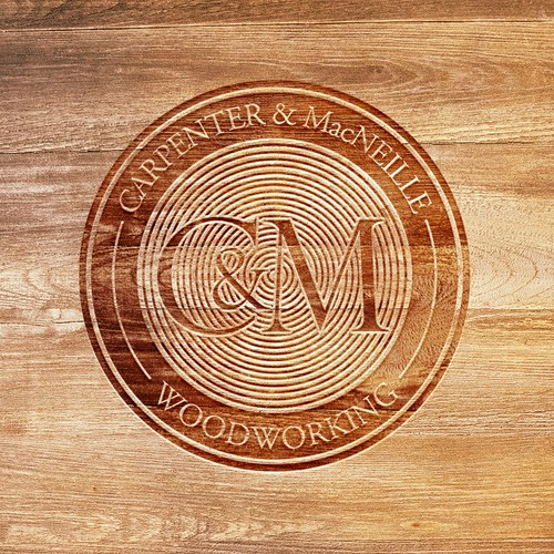 Wood label with the title 'Stamp Logo Concept for CARPENTER & MacNEILLE Woodworking'