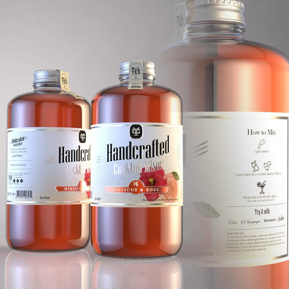 Glass packaging with the title 'Cocktail Mixer label design'