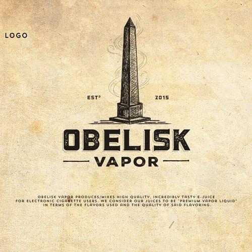 Emblem logo with the title 'Logo Design for Obelisk Vapor'