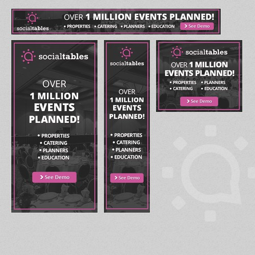 Planner design with the title 'Social Tables #1 software for planners and properties to work together. '