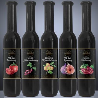 Set of five labels for premium vinegar - Set mit 5 Etiketten für Premium Essig