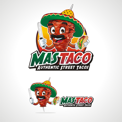 Mustache logo with the title 'Mas Taco'
