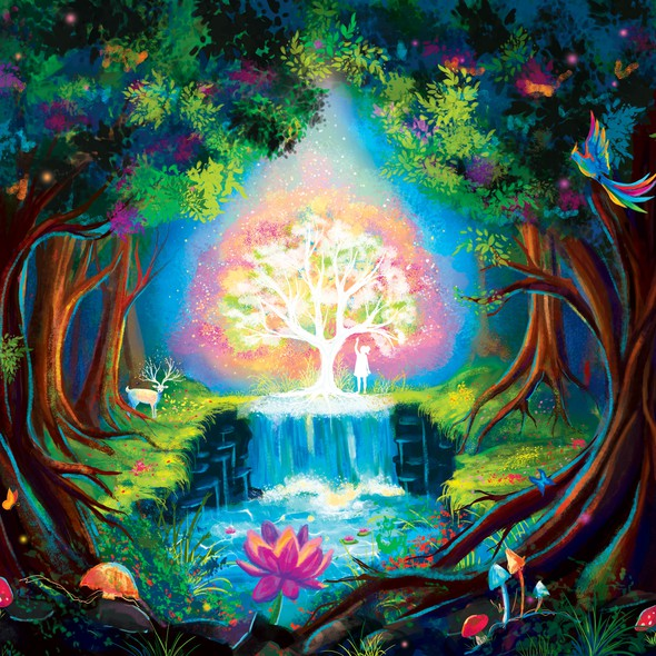 Tree of life design with the title 'On-stage backdrop design'