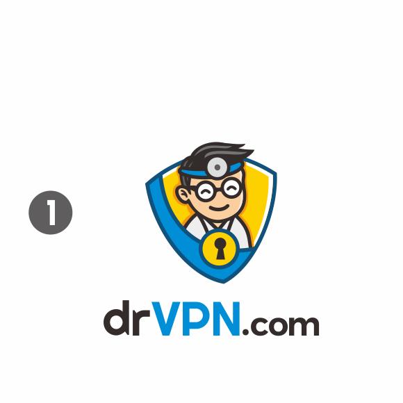 VPN logo with the title 'Winning Design - Our VPN Brand needs a logo - drvpn.com (Doctor VPN)'