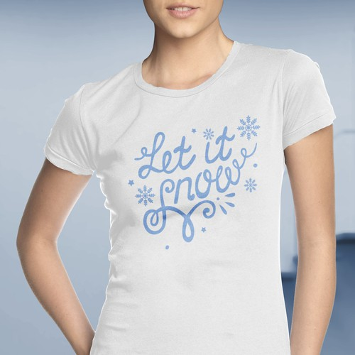 Calligraphy t-shirt with the title 'Christmas themed women's T-shirt'