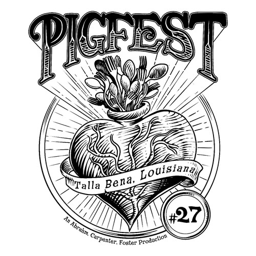 Engraving t-shirt with the title 'Pigfest'